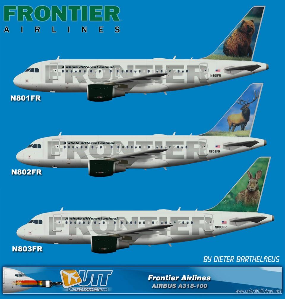 Frontier Airlines Airbus A318 (N801FR,N802FR,N803FR) (circa end of 2012)