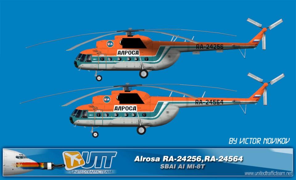 ALROSA RA-24256,RA-24564 AI Helicopters Mi-8T