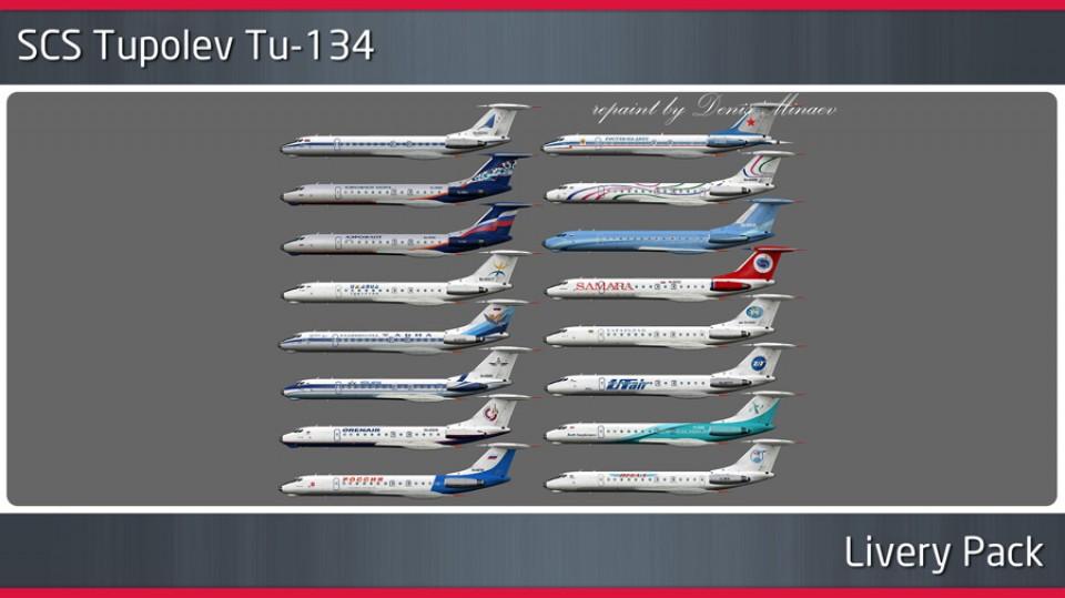 SCS Tupolev Tu-134 v1.2 - Texture Pack (16pcs)