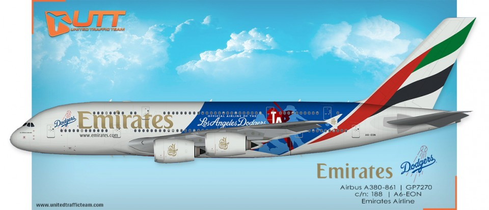 "UTT AI Airbus A380 (TFS) Emirates A6-EON ""Los Angeles Dodgers"""
